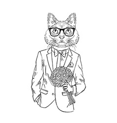 Hand drawn of cat boy with roses romantic design vector