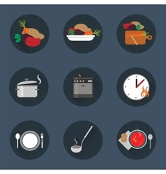 Cooking process icon set vector