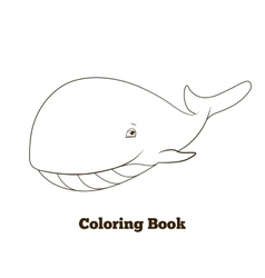 Coloring book whale cartoon educational vector