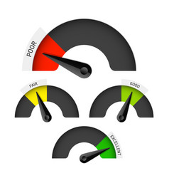 Poor fair good and excellent colorful gauge vector