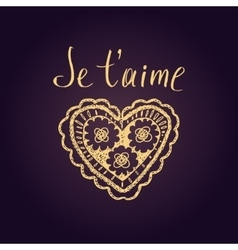Declaration of love in french openwork heart vector