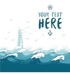 Blue waves lighthouse birds summer sea banner vector