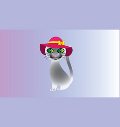 A semi-abstract gray cat with a hat vector
