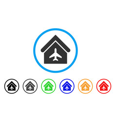 Aircraft hangar rounded icon vector