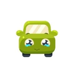 Begging green car emoji vector