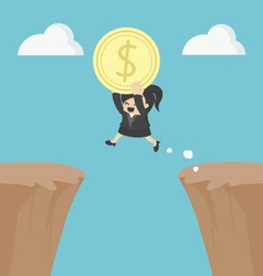 Business Woman holding money jumping over the clif vector image vector image