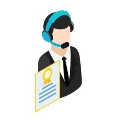 Call center operator with headset icon vector image vector image