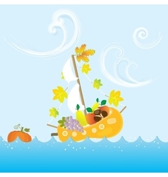 Cartoon autumn fall colorful fruit boat sea leaves vector