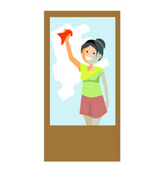Cheerful woman wiping window vector