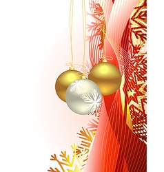 Christmas beautiful artistic wave and balls vector image