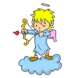 Cute little cupid cartoon on cloud vector