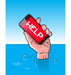 Drowning man with smartphone in hand vector