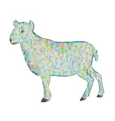 Easter lamb polygons white background vector image