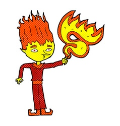 Fire spirit comic cartoon vector