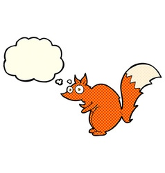 Funny startled squirrel cartoon with thought vector