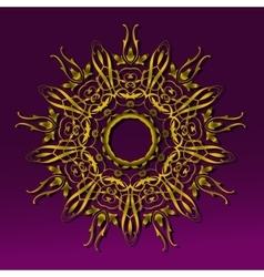 Golden round vintage ornament vector