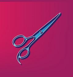 Hair cutting scissors sign blue 3d vector