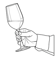 Hand holding glass of wine outline vector image