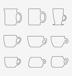 Icon Set of cups vector image vector image