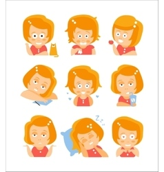 Little Red Head Girl Cute Portrait Icons vector image vector image