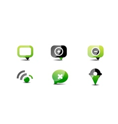 Modern web green black icon set vector image