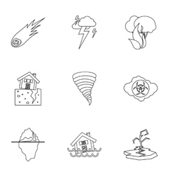 Natural disasters icons set outline style vector