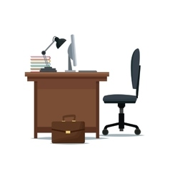Office desk chair computer lamp books suitcase vector