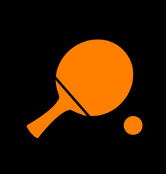 Ping pong paddle with ball orange icon on black vector