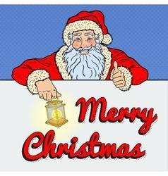 Pop art santa claus with merry christmas banner vector