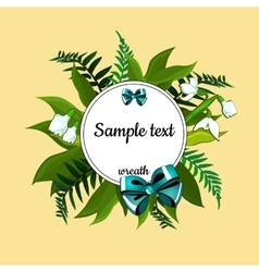 Round frame with text and decor of lilies vector