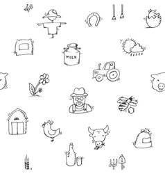 Seamless pattern Hand drawn Farm icon set vector image