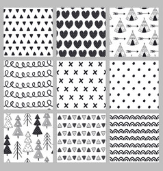 set of seamless pattern black and white vector image vector image