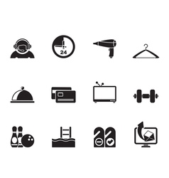 Silhouette hotel and motel amenity icons vector image