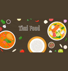 thai food and fresh ingredients vector image vector image