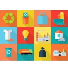 Waste recycling icons sign symbols sorting waste vector