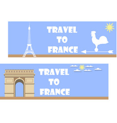 Welcome to france banner in a flat style tourism vector