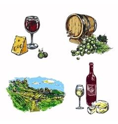 Wine Vineyard Icon Set vector image vector image