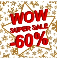Winter sale poster with wow super sale minus 60 vector