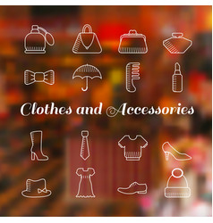 Woman accessories icons set lineart vector