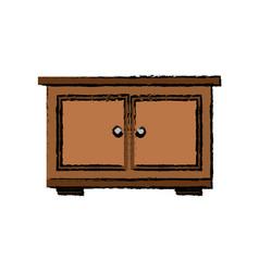 Wooden bedside table furniture doors vector