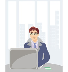 Young businessman with credit card on his laptop vector image