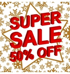Winter sale poster with super sale 50 percent off vector