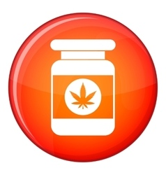 Jar of powder marijuana icon flat style vector