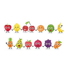 Cartoon fruits characters vector