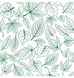 Seamless pattern of green leaves vector