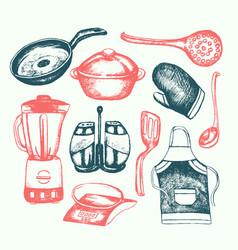 Kitchen ware - of vintage vector