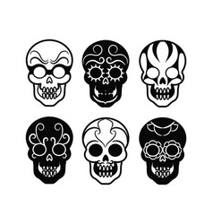 Black mexican skull icons vector