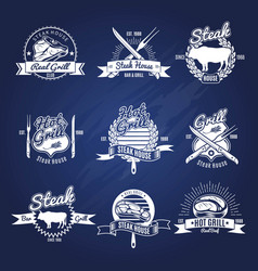 Steak grill labels set vector