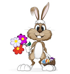 Easter rabbit with easter eggs vector