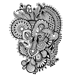 Black zentangle line art flower drawing vector